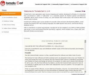 Установка TomatoCart. Шаг 1
