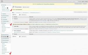 Новые пункты меню в WordPress после установки WP E-Commerce