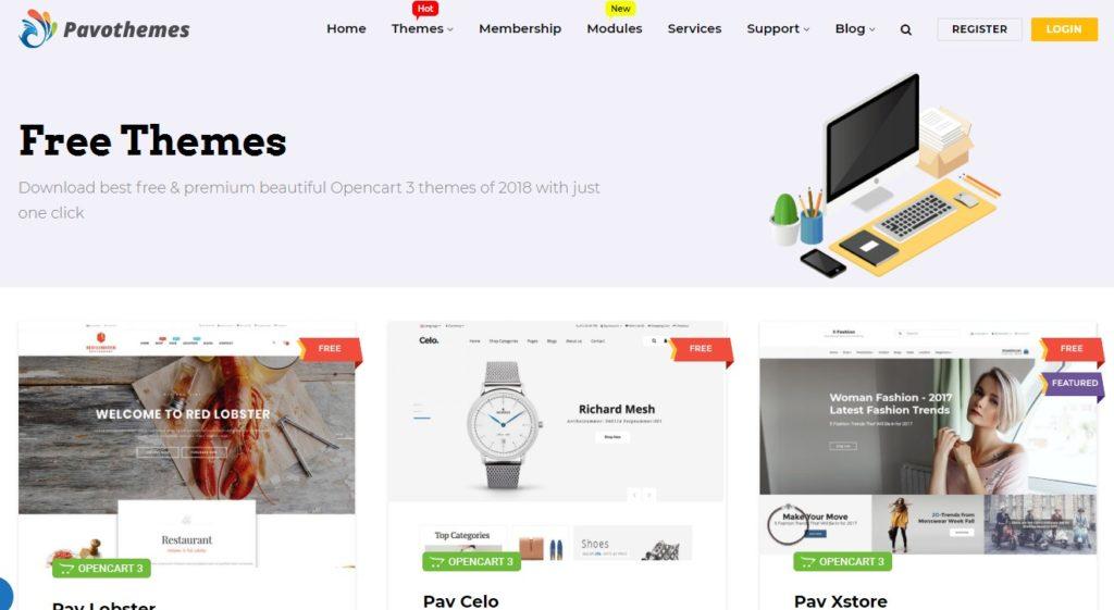 Скрин магазина PavoThemes, где можно скачать бесплатные шаблоны OpenCart