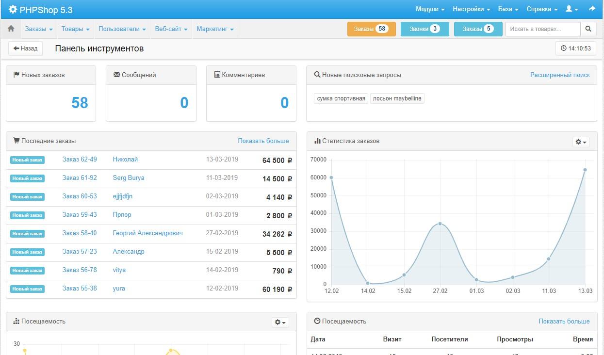 Скрин админки PHPShop
